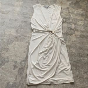 Carmen Marc Valvo white asymmetric dress